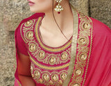 Dark Beige & Shaded Orange Pink Designer Embroidered Bridal Saree - Saira's Boutique - 4