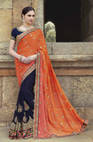 Navy Blue & Orange Designer Embroidered Georgette Bridal Saree - Saira's Boutique - 1