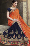 Navy Blue & Orange Designer Embroidered Georgette Bridal Saree - Saira's Boutique - 7