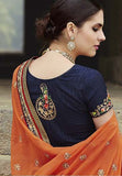 Navy Blue & Orange Designer Embroidered Georgette Bridal Saree - Saira's Boutique - 6