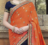 Navy Blue & Orange Designer Embroidered Georgette Bridal Saree - Saira's Boutique - 4