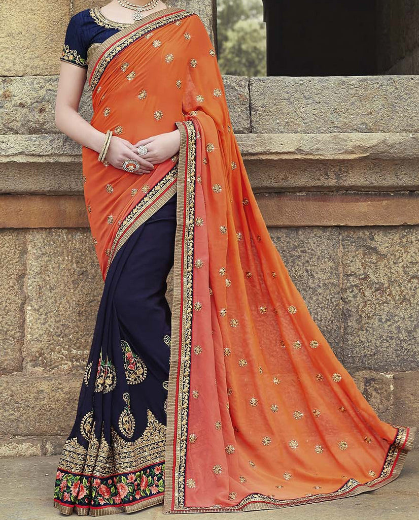 Navy Blue & Orange Designer Embroidered Georgette Bridal Saree - Saira's Boutique - 2