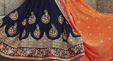 Navy Blue & Orange Designer Embroidered Georgette Bridal Saree - Saira's Boutique - 5