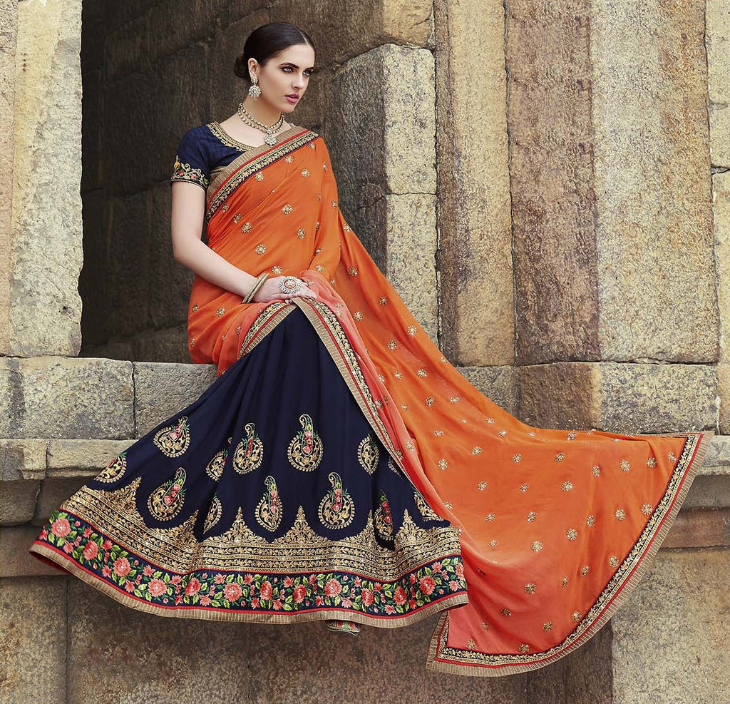 Navy Blue & Orange Designer Embroidered Georgette Bridal Saree - Saira's Boutique - 3