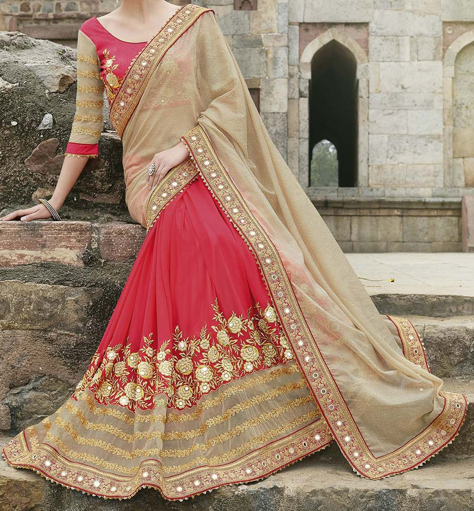 Beige & Red Designer Embroidered Fancy Bridal Saree - Saira's Boutique - 2