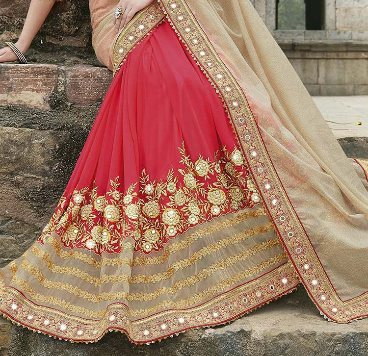 Beige & Red Designer Embroidered Fancy Bridal Saree - Saira's Boutique - 4