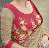 Beige & Red Designer Embroidered Fancy Bridal Saree - Saira's Boutique - 3