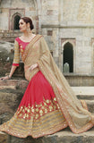 Beige & Red Designer Embroidered Fancy Bridal Saree - Saira's Boutique - 1