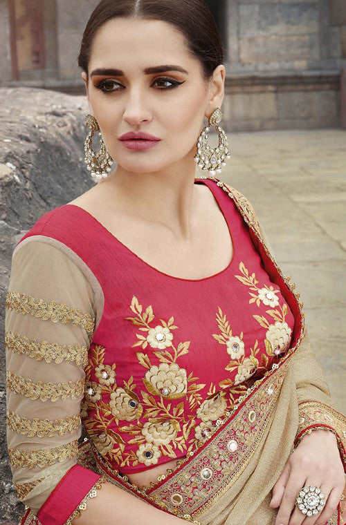 Beige & Red Designer Embroidered Fancy Bridal Saree - Saira's Boutique - 5