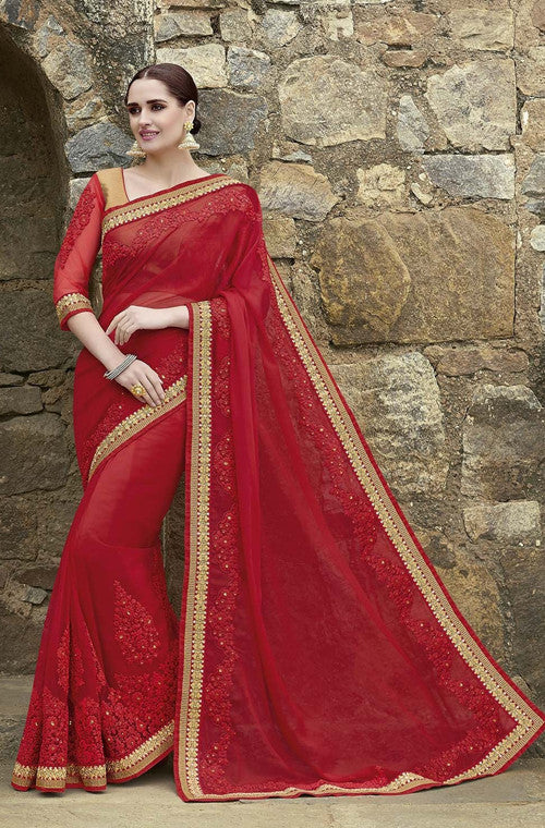 Ruby Red Designer Embroidered Georgette Bridal Saree - Saira's Boutique - 1