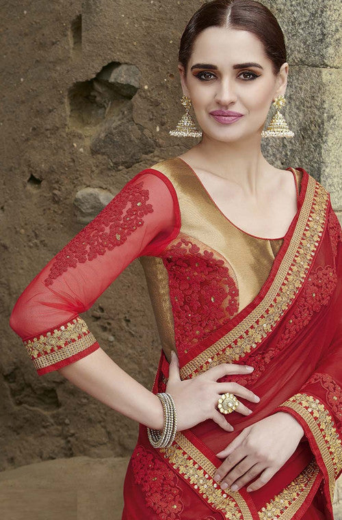 Ruby Red Designer Embroidered Georgette Bridal Saree - Saira's Boutique - 5