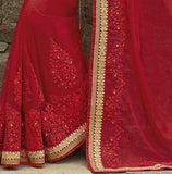 Ruby Red Designer Embroidered Georgette Bridal Saree - Saira's Boutique - 4