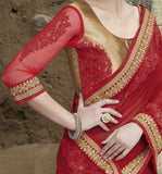 Ruby Red Designer Embroidered Georgette Bridal Saree - Saira's Boutique - 3