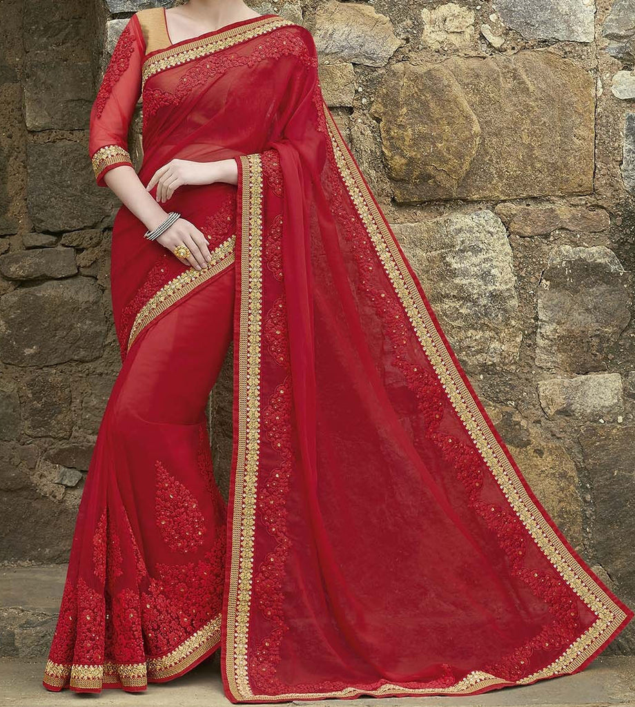 Ruby Red Designer Embroidered Georgette Bridal Saree - Saira's Boutique - 2