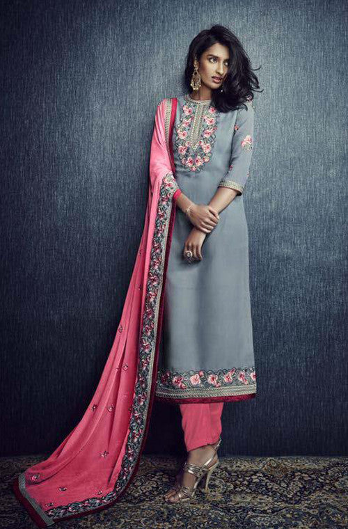 Stone Blue & Pink Designer Embroidered Churidar Suit - Saira's Boutique - 1