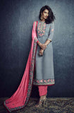 Stone Blue & Pink Designer Embroidered Churidar Suit-Saira's Boutique