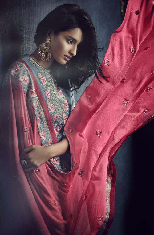 Stone Blue & Pink Designer Embroidered Churidar Suit - Saira's Boutique - 2