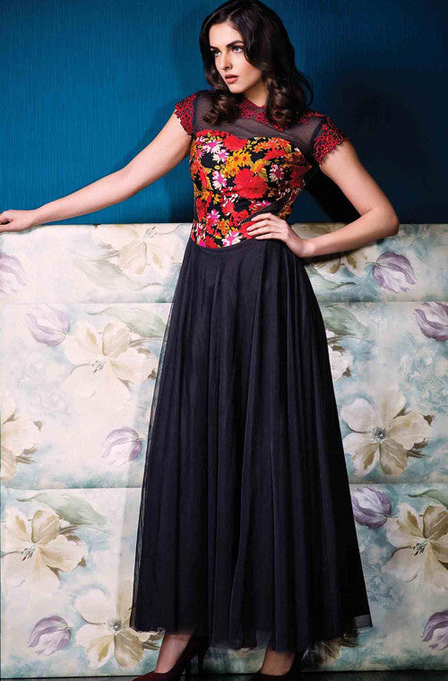 Classic Black Designer Party Wear Gown - Saira's Boutique - 1