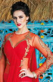Red Designer Georgette Embroidered Gown-Saira's Boutique