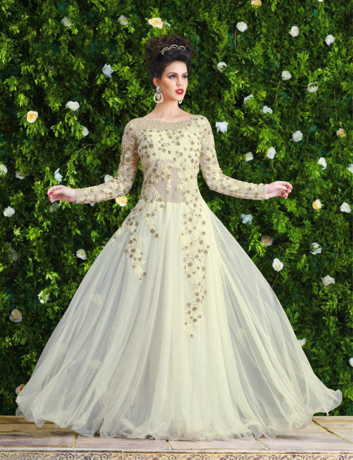 Off White Designer Net Embroidered Gown - Saira's Boutique