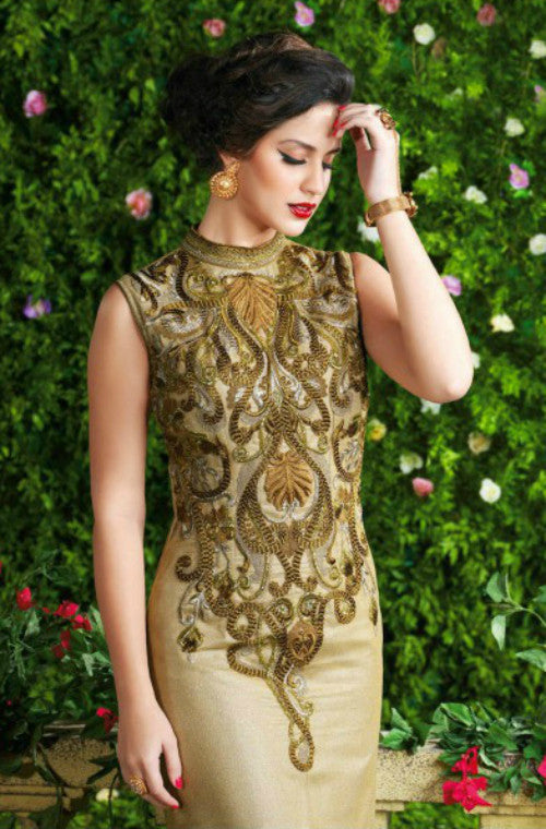 Beige Designer Net Embroidered Gown - Saira's Boutique