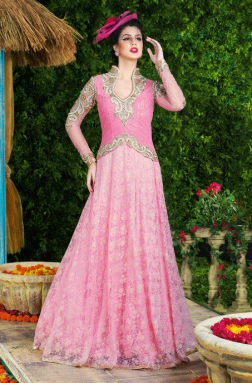 Pink Designer Net Embroidered Gown-Saira's Boutique