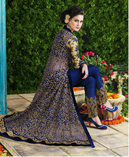 Blue Net Evening Gown with BONUS Lehenga-Saira's Boutique