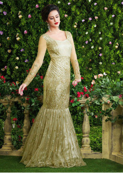 Green Designer Net Evening Gown-Saira's Boutique