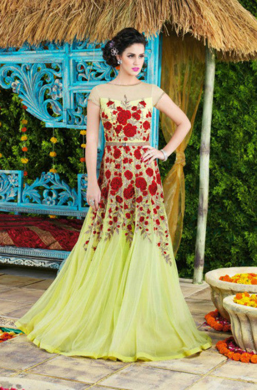 Light Green Designer Net Evening Gown - Saira's Boutique