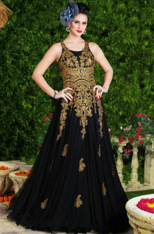 Black & Gold Designer Net Evening Gown – Saira\'s Boutique