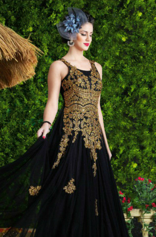 Black & Gold Designer Net Evening Gown - Saira's Boutique