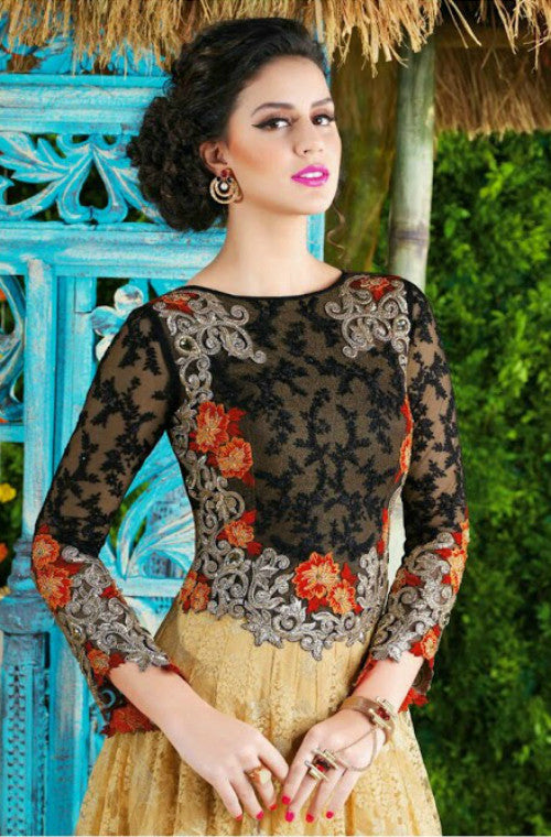 Beige & Black Designer Net Evening Gown-Saira's Boutique