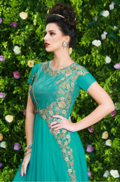 Sea Green Designer Net Embroidered Gown-Saira's Boutique