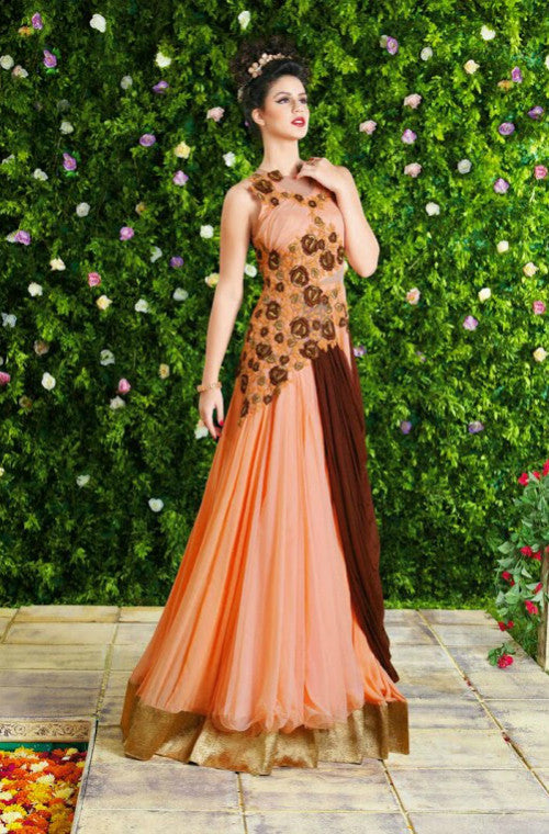 Peach Designer Georgette Embroidered Gown - Saira's Boutique