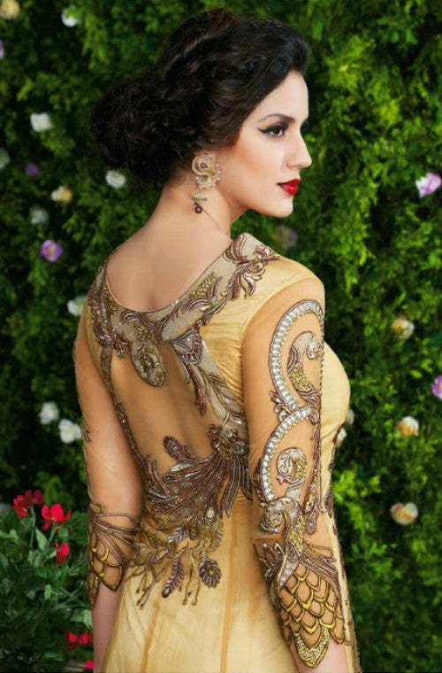 Beige & Gold Designer Net Embroidered Gown - Saira's Boutique