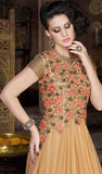 Beige Designer Embroidered Net Evening Gown - Saira's Boutique - 5