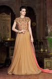 Beige Designer Embroidered Net Evening Gown - Saira's Boutique - 1