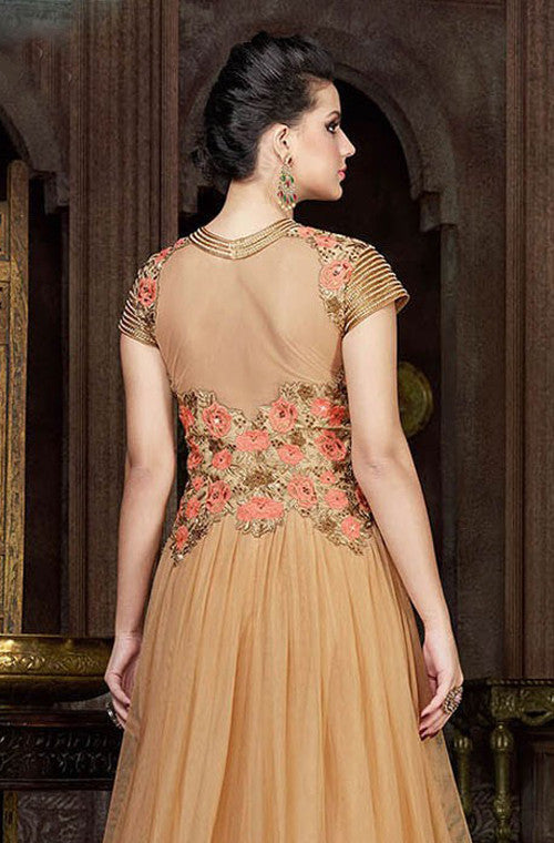Beige Designer Embroidered Net Evening Gown - Saira's Boutique - 6