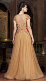 Beige Designer Embroidered Net Evening Gown - Saira's Boutique - 4