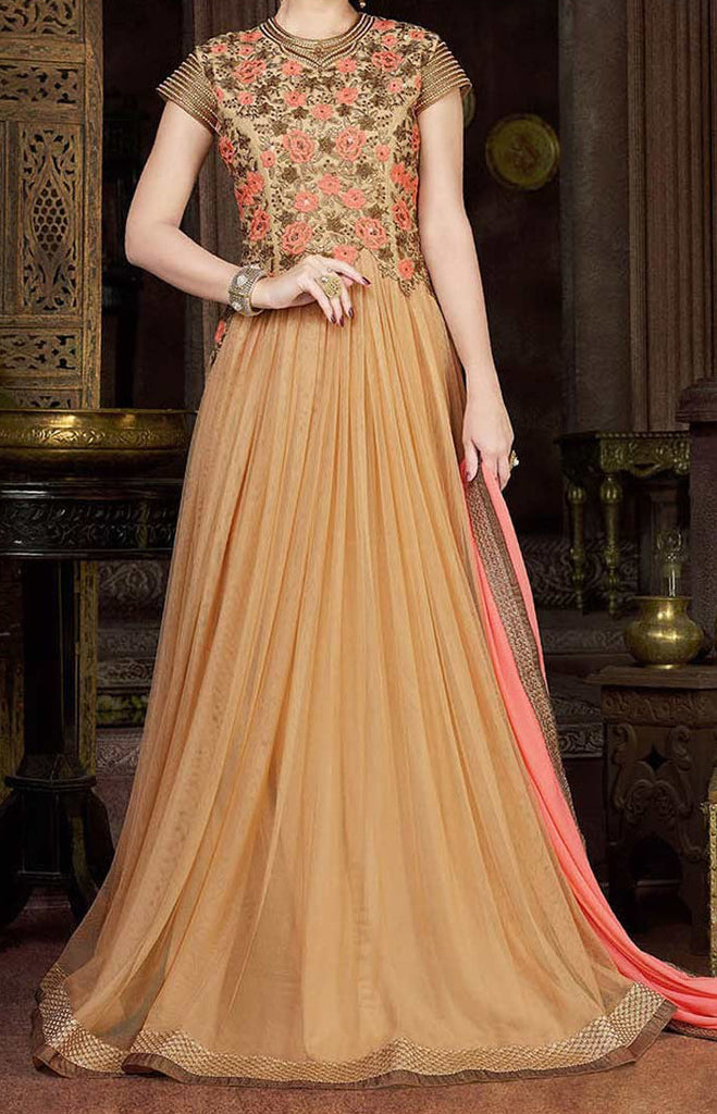 Beige Designer Embroidered Net Evening Gown - Saira's Boutique - 2