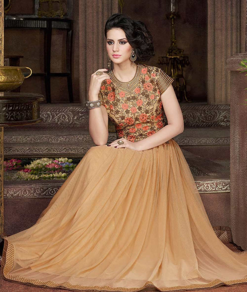 Beige Designer Embroidered Net Evening Gown - Saira's Boutique - 3