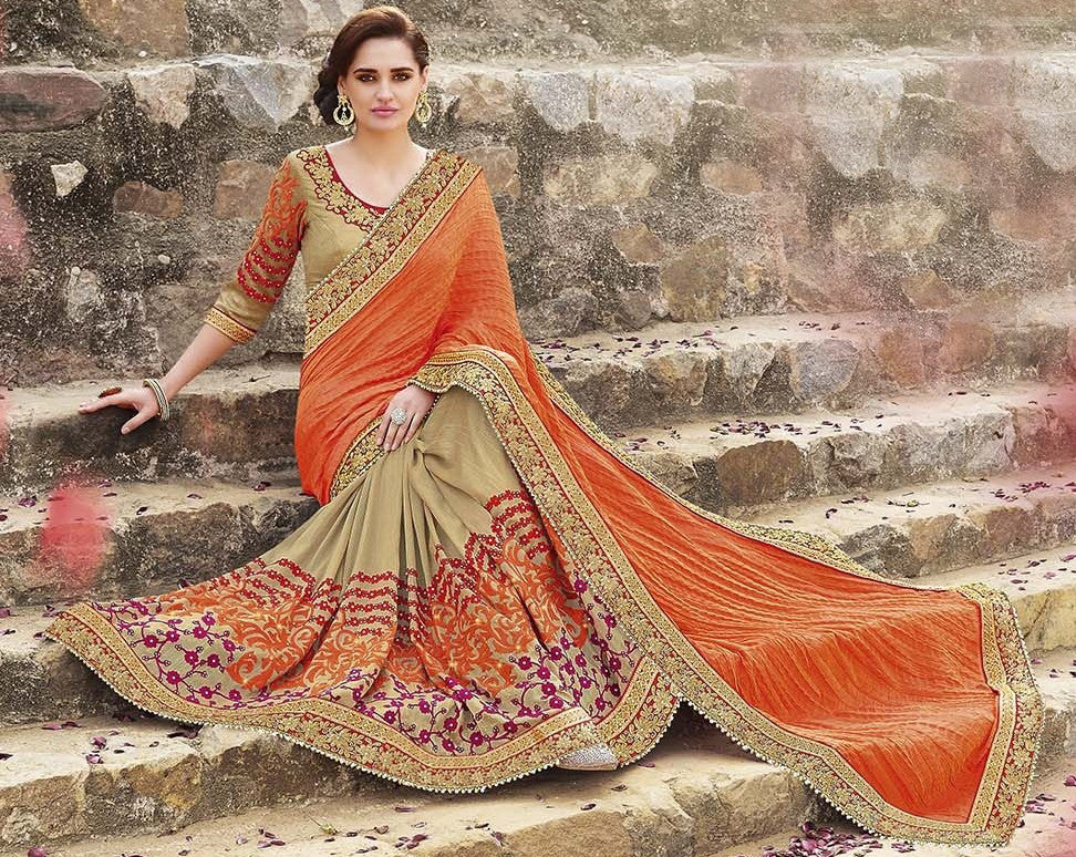 Orange & Beige Designer Embroidered Georgette Bridal Saree-Saira's Boutique