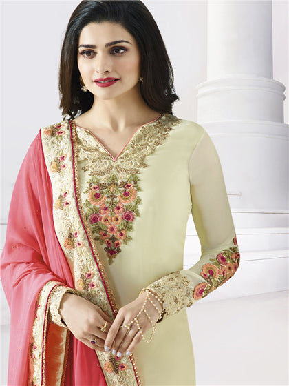 Cream Georgette Designer Embroidered Churidar Suit