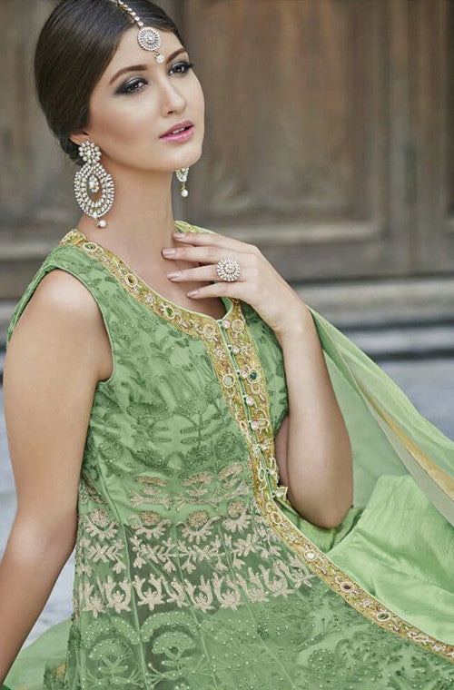 Light Green Designer Heavy Bridal Anarkali Suit - Saira's Boutique - 4