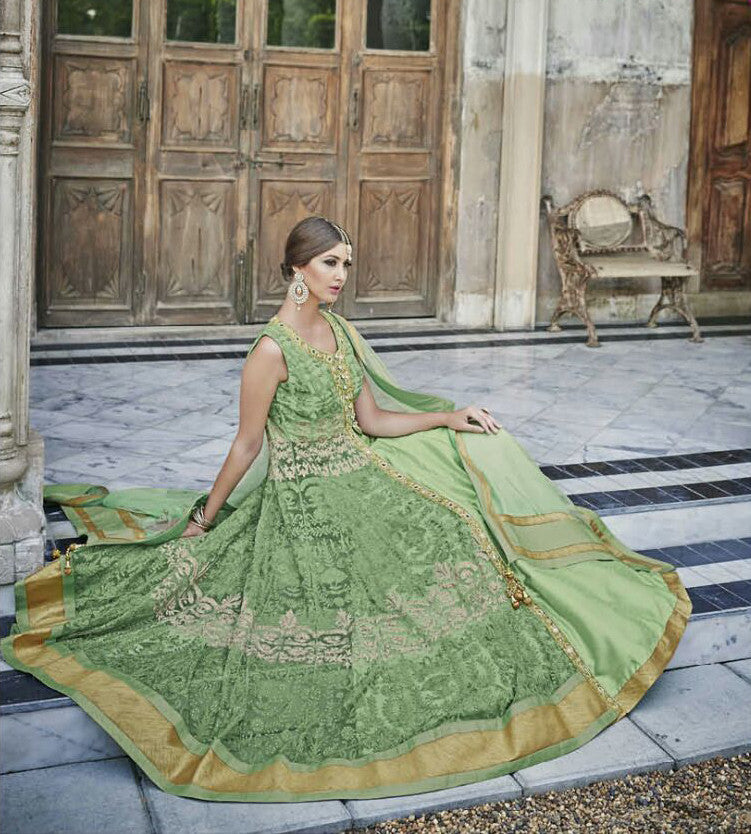 Light Green Designer Heavy Bridal Anarkali Suit-Saira's Boutique