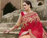 Red & Peach Designer Embroidered Fancy Bridal Saree - Saira's Boutique - 3