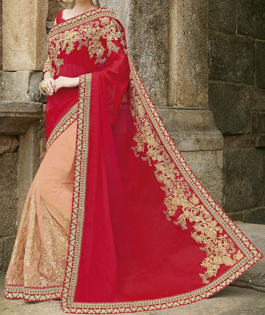 Red & Peach Designer Embroidered Fancy Bridal Saree - Saira's Boutique - 2