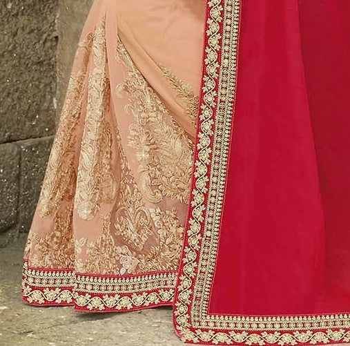 Red & Peach Designer Embroidered Fancy Bridal Saree - Saira's Boutique - 5