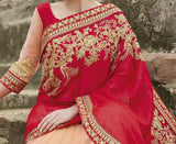 Red & Peach Designer Embroidered Fancy Bridal Saree - Saira's Boutique - 4