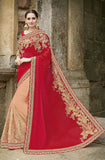 Red & Peach Designer Embroidered Fancy Bridal Saree - Saira's Boutique - 1